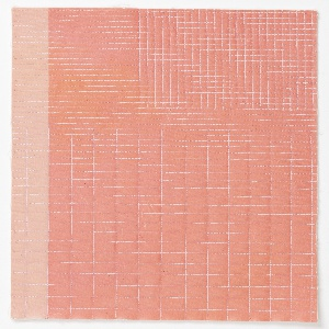 Pink grids and lines machine stitched to a light and dark pink transfer-printed canvas. Plain canvas backing with fiberfill between the layers.