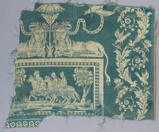 Neoclassical design with lions and cartouche in blue and white.