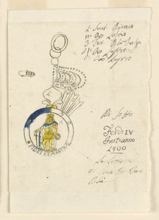 """Working sketch showing a design for a badge of the R. Sicilian Military Order of St. Ferdinand and of Merit. At left, a small sketch of a part of a crown. In the center, hanging at two rings is the right half of the crown, below it is the lily on top, marked as """"1,"""" with the fastening ring around it marked as """"5,"""" and branches of rays marked as """"2."""" The circle of the obverse is marked """"3."""" Its dark blue color and the golden color of the five dots are indicated, and the caption """"FIDEI ET MERITO"""" at bottom. The colors of the image of the king are indicated, and the ground is marked as """"4."""""""