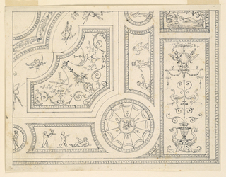 Portion of a ceiling shown. At lower right, a candelabrum. To the left of this a circle with a mask at center. Flanking this, are two panel with three figures each.