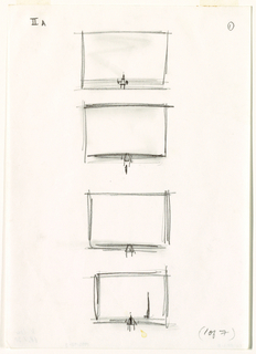 "Four small, vertically-aligned sketches of a stage with a small chair at center. Sketch four has a second, tall chair at right. In lower right corner, handwritten text: ""(1 of 7)."""
