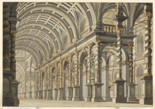 Drawing, Stage Design: Vaulted Hall of a Palace