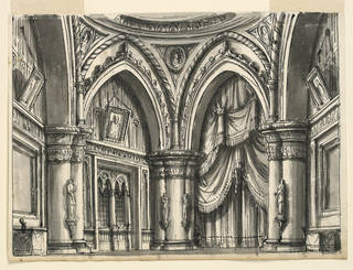 Horizontal rectangle. Interior of Gothic hall with ogival arches supported by columns.