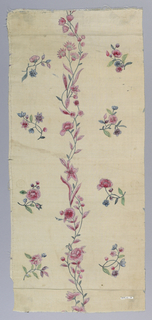 White ground fabric with a design of a central slender twining stem with rose-colored blossoms and buds with scattered floral sprays in green, blue and rose at either side.