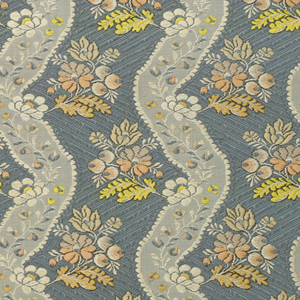 Dark blue-grey ground, fancy weave, with meander in lighter shade and small flower clusters. Reproduction of late Louis XV style; probably by machine.