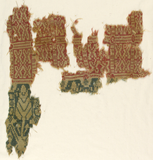 Fragments with two bands of different designs.  Red band has a motif in beige of repeated X shapes enclosed in a square. Green and beige band has design of tree surrounded by geometrical motifs.