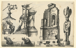 Horizontal rectangle. At lower left, the left part of the under edge; vertically, a right half of a rostral column, with an inscription tablet between. Above are two rods. At left, a weathervane in the form of a mermaid with a mace. Below, a marble throne with a band; a vase on one short side. At right, the left side of a tripod with a flame standing upon a pedestal in the shape of a capital flanked by dolphins; the right side of an altar with a flame. A classical temple in ruins with reliefs and two statues. At right, a standing man with a trophy upon his head. Verso: two sketches of figures.