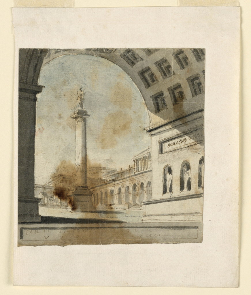Vertical rectangle. View through coffered archway to open square, column with monument on top.