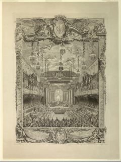Decorations of the Salle de Spectacle of the Grande Ecurie at Versailles for a Festival Honoring the Fist Marriage of the Dauphin, February 24, 1745. The chamber is fitted with a stage at one end; filled with spectators watching a performance. Below, a six line explanatory inscription, and engraver's name; also indication that the decorations were devised by Slotz and Perot.