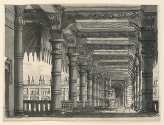 Horizonal rectangle. Portico with fountain, palace in the background.