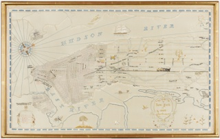 A map of New York in 1839, embroidered in pale colored silks on white satin.