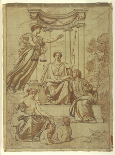 Drawing, The Beneficence of the Law, Design for Mural at Essex County Court House, Newark, New Jersey