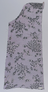 Mauve tabby with bamboo pattern in twill effect; stenciled and brushed decoration of chrysanthemum sprays in grey and black.