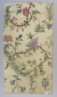 Two fragments of white silk painted in polychrome tempera. Design of twisting branches, wrapped with pink ribbon, from which spring varicoloured flowers and foliage and berries.