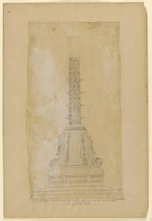"""Drawing, """"Detail de la base des mats places sur le pont-neuf en Juillet 1838"""""""