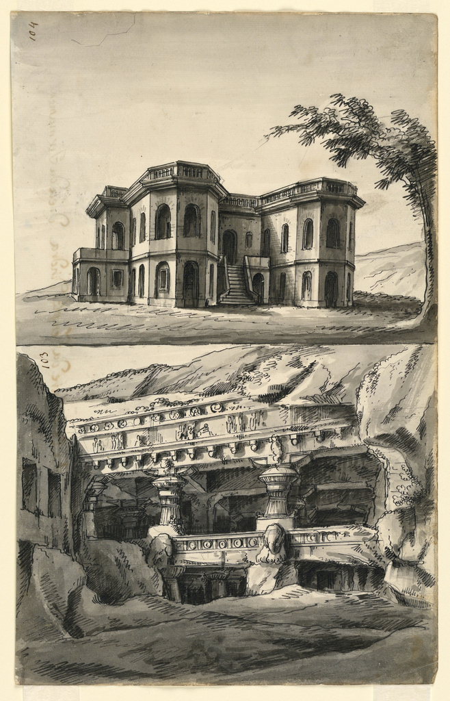 Vertical rectangle with two compositions. Upper composition: solitary castle in landscape. Bottom composition: caves in rock with sculptured columns and decorations.