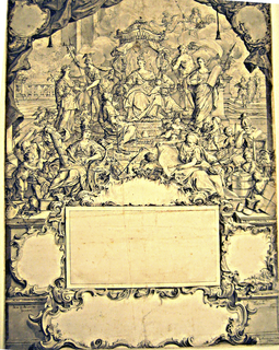 A queen is seated on a throne under a canopy, surrounded by carefully identified allegorical figures.