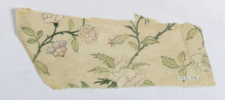 White ground with curving stems, flowers and leaves painted in green, blue, rose, yellow, purple.
