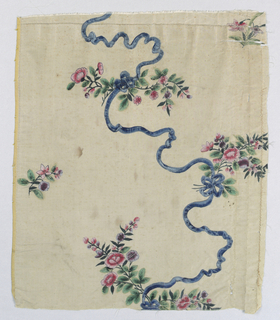 Fragment of yellow silk painted in polychrome tempera - spray of roses, some held in place by ribbons and connected with another spray.