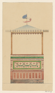 Design for an open-air pavilion with a blue triangular roof, edged with a pink and blue triangular border.  The roof is surmounted by a red flagpole, from which a blue, white and red banner hangs.  The roof is supported by two thin columns with red stripes.  The lower wall of the pavilion is divided into several bands of decoration.  The uppermost portion is made up of two rows of blue scrolling wave decorations with a solid green band between.  Below is a large horizontal plaque with green and red swag decorations.  Below this is a thin band of terra cotta colored wave designs, which rests on top of a series of similarly colored vertical rectangles.  The whole structure rests on a peach and gray marble base.