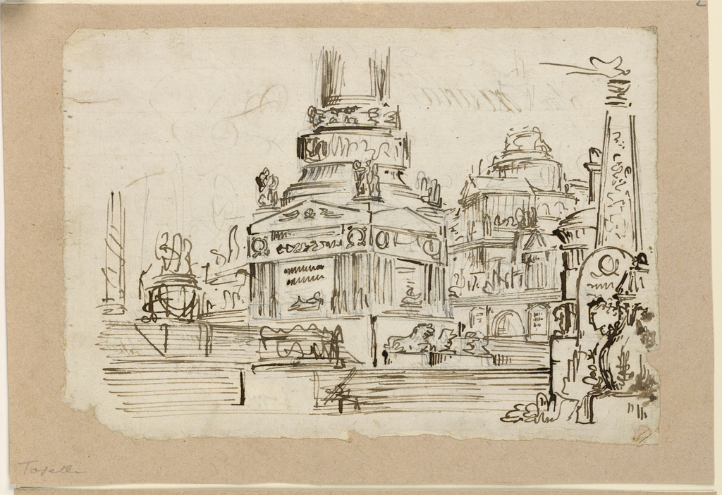 Horizontal rectangle. Pedestal of monument on stairs, buildings in background.