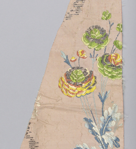 design of floral groups and foliage in polychrome silks and silver metal on light rose patterned background. b is made up of three fragments sewn together.