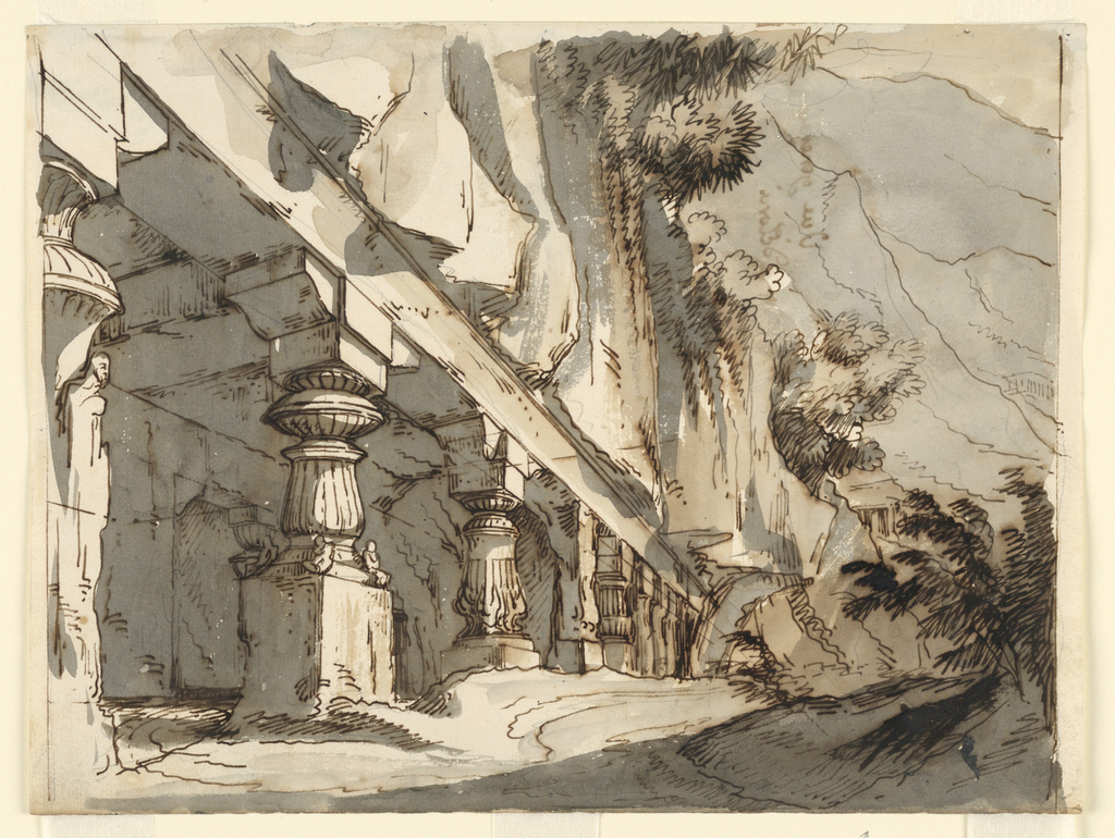 Horizontal rectangle. Caves in rocks with sculptured columns to support outside walls.
