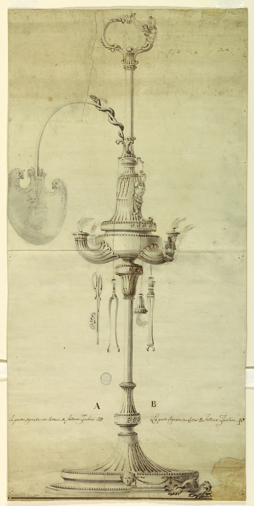 High foot and plinth. The lamp is nearly in the middle of the shaft. Four spouts. Eye shield hanging on chains. Trimmer, pincer, wrench and snuffer. The more expensive suggestion provides for dolphins as supports of the base for human half-figures with Egyptian headdress.