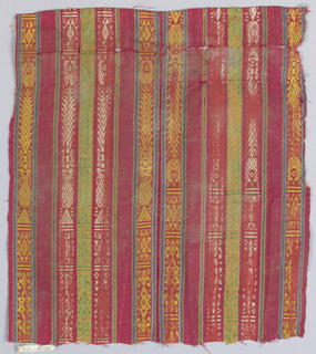 Multicolor stripes with geometric motifs on red background.
