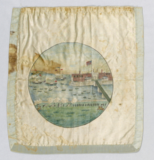 Bag of silk, printed on both sides, commemorating the landing of General Lafayette at Castle Gardens N.Y. in 1824.