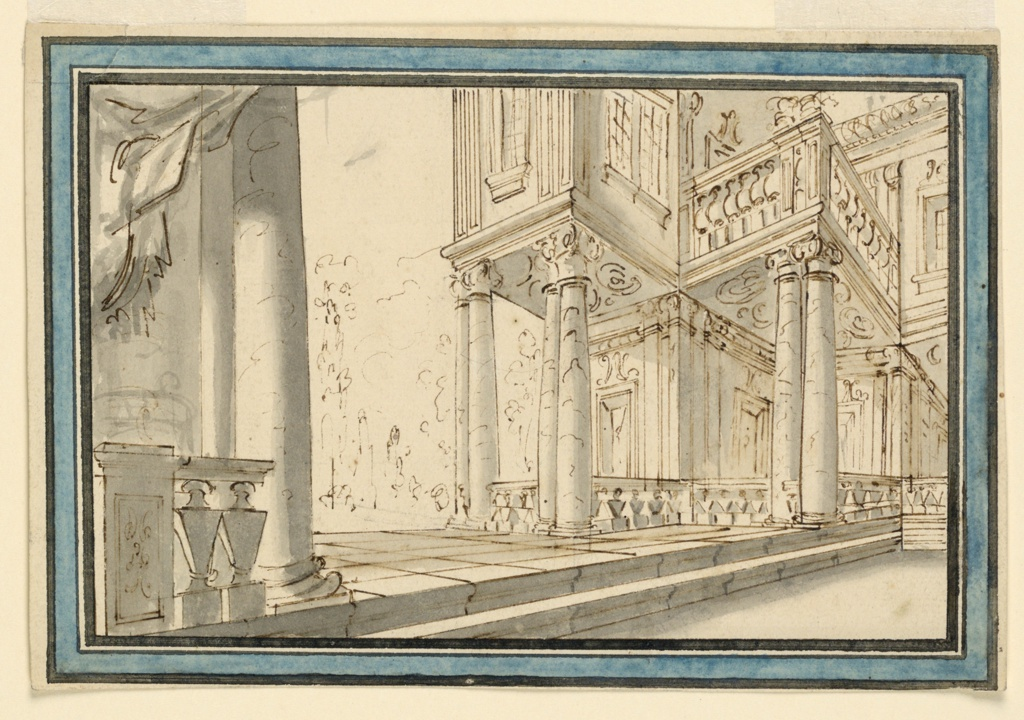 Horizontal format. Architectural stage design with a view of the corners. Two steps are leading up to the level of the ground floor; it is paved, and bordered by balustrades which connect the columns supporting the upper story. A piece of drapery is in the upper left corner. Framed by black lines and stripes, and a blue one. Verso, vertically: rough pencil sketch of a standing and two sitting men. A fourth man is only partly visible.