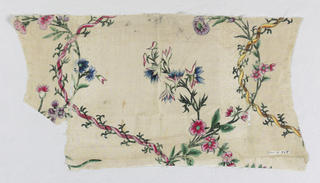 White ground with serpentine of intertwining ribbons and vines with floral sprays springing from them. Painted in rose, green, blue, white, orange, yellow, brown, purple, gold and silver.