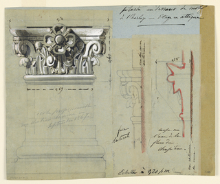 Drawing, Design for a Capital, 1867