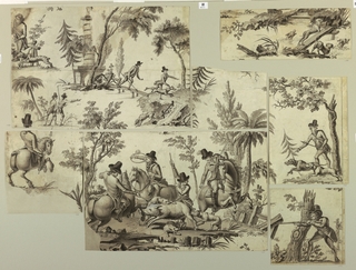 Drawing, Fragments of an incomplete cartoon for cotton printing: La Course au Sanglier