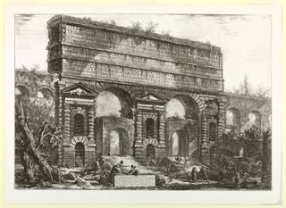 "Horizontal rectangle. View of the gateway, with two large openings, and double tiers of niches cut through its walls. Portions of old aqueduct seen at both sides. Figures below. Title on cartouche below ""Veduta del Monumento..."" At lower left, ""Cavalier Piranesi F."""