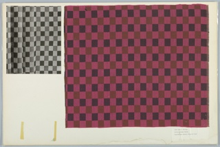 Textile samples and black and white photos on illustration board