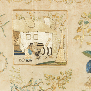 Spot motifs surrounding a central pictorial panel with a woman feeding chickens in the farmyard.