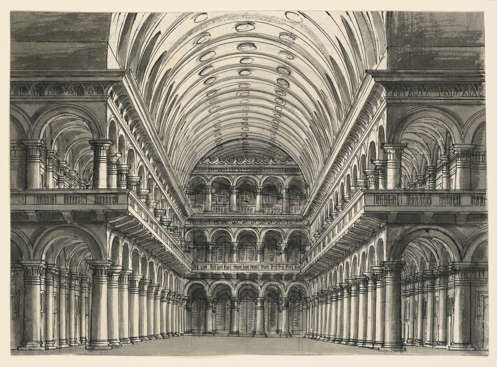 Horizontal rectangle. Interior of high vaulted hall with porticoes.