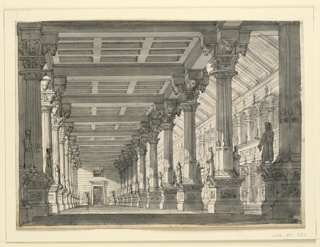 """Drawing, Stage Design, Hall in a Babylonian Palace for the Opera """"Ciro in Babylonia"""" by Gioacchino Rossini"""