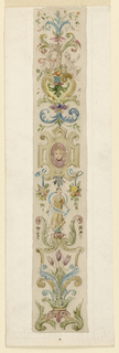 A vertical panel with a candelabrum motif. At center, a strapwork escutcheon with a mask. Below, a figure with a blue ribbon. Above, two putti.
