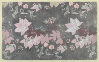 Design for floral wallpaper or paper for paneled screen. Various floral forms with blossoms, leaves, and stems play across silver foil paper; all-over pattern repeats as horizontal registers. Vegetal motifs rendered in maroon, mauve, light pink, and white; several areas shows gouache losses and also reveal patina of support.