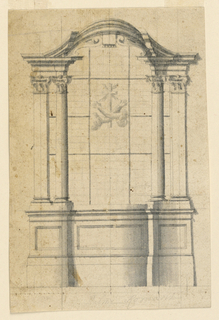 A pair of pilasters and columns with Corinthian capitals frame a window with coat-of-arms.