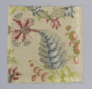 Two fragments of an all-over pattern dominated by exotic flowers in bright colors and metalics on an off-white monochrome fine floral vine.
