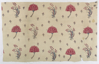 Fragment of cream-colored cotton, painted in design of detached flower sprays, alternating with flower head in profile; background sewn with very small design of flower head with stamens. Colors red, blue, violet, black for outlines. Glazed. No selvages.