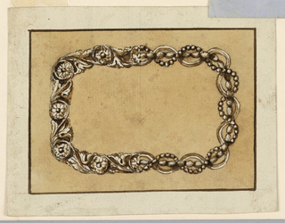 Design for a frame intended to be executed in metal with alternative suggestions. The left half consists of circumscribed blossoms which are connected by stems with leaves at left and calices at right. In the right half, a ribbon and a bead chain are entwined and waved around a chain of larger beads. The background is colored and framed by a line.