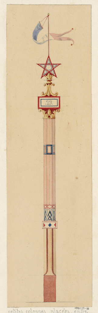 """Design for a post, in which the main body is composed of a red and white striped polygonal column with two horizontal banding elements in blue and white, and which rests on a white base with two vertical red lines and a solid red bottom.  The main striped polygonal body of the post terminates in a gold acanthus capital with a plaque written with the number """"29"""" on top, upon which rests golden scrollwork and a pentagram with a blue, white and red banner hanging above."""
