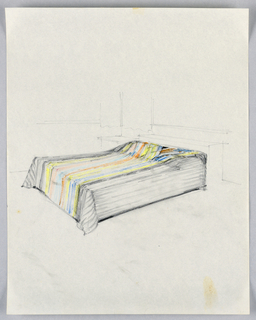 Perspective view, from the right side, of bed with headboard, night table, and curtain indicated lightly.  Bedspread shown in yellow, orange, turquoise, blue stripes down the middle and flaring over the pillow area.