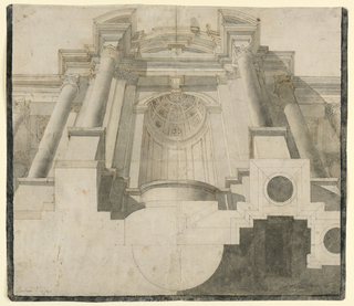 View from below of a colonnade, having a niche in the middle. On top of the lateral parts is an entablature; on top of the central one is a circular pediment. The plan of the architecture is shown in the right half. Framing black stripe, except above. Verso: Some geometrical perspective drawings in red and black crayon.