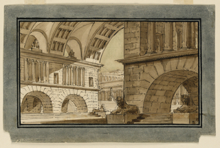 Horizontal rectangle. Group of temple buildings with high vaults and arches below, through which stairs are to be seen. Several sphinxes on pedestals.