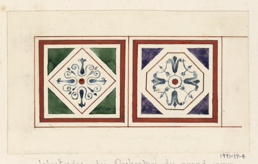 Design for two different red-bordered square panels.  Right: Dark green square with a diamond-shaped white insert, decorated with a blue arabesque design.  Left: Dark purple square with an octagonal white insert, decorated with a blue arabesque design.